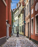 Narrow medieval street, Riga, Latvia Stock Photos