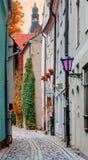 Narrow medival street, Latvia, Europe Royalty Free Stock Image