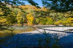 Narrow metal foot bridge across mountain river in autumn royalty free stock image
