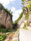Narrow motor road along a mountain river in the gorge of the Rhodope Mountains Stock Image