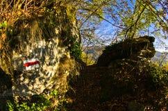 Narrow mountain path to Saint Sava hermitage high up in a mountain Stock Photos
