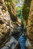 Narrow mountain river canyon. Abkhazia, Georgia stock image