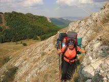 On a narrow mountain trail Stock Photo