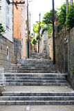 Narrow old pathway stone buildings. Narrow old pathway with stone buildings in Dubrovnik, Croatia Stock Photos