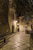 Narrow old street at night in Saint-Tropez, France. Stock Photo