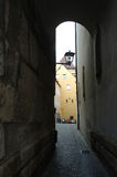 Narrow old street in Regensburg,Bavaria,Germany stock image