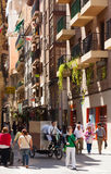 Narrow old street in spanish city. Murcia Stock Photo