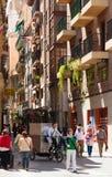 Narrow old street in spanish city. Murcia Stock Photo