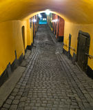 Narrow passage. A narrow passage in  the Old Town of Stockholm Royalty Free Stock Photo
