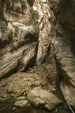 Narrow passage of Avakas Gorge on Cyprus Royalty Free Stock Photography