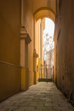 Narrow passage between buildings in Warsaw, Poland.  royalty free stock photography