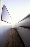 Narrow passage on the deck of the yacht in perspective.  Royalty Free Stock Photo