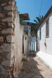 Narrow passage between houses, Hydra Island Stock Image