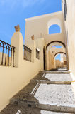 Narrow passage with steps in Fira, Santorini, Greece Royalty Free Stock Photography