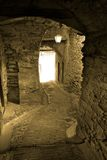 Narrow passage in Triora, Italy Stock Images