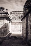 Narrow passage at the Uxmal archaeological site, Yucatan, Mexico royalty free stock photos