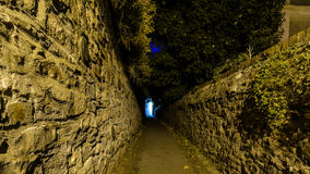 Narrow Passageway C. Captured in Clifton Bristol England, Night view of Public Footpath Royalty Free Stock Image