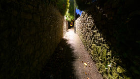 Narrow Passageway A. Captured in Clifton Bristol England, Night view of Public Footpath Royalty Free Stock Images