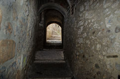 Narrow passageway in the Jewish quarter of Girona royalty free stock photos