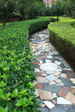 Narrow path. In a public city park, bordered by green plant Stock Images