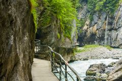 Narrow path through Aare gorge. In canton of Bern, Switzerland royalty free stock photos
