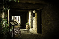 Narrow path in ancient suburb stock photo