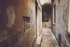 Narrow path between buildings. Royalty Free Stock Images