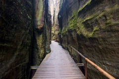 The narrow path among high rocks Royalty Free Stock Photo