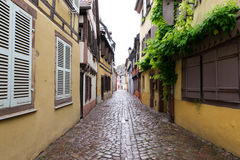 Narrow path in Petite Venice, Colmar. Royalty Free Stock Photo