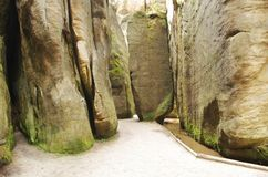 Narrow path in Skalne Mesto Adrspach Czech Republic Royalty Free Stock Images