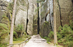 Narrow path in Skalne Mesto Adrspach Czech Republic Stock Photography