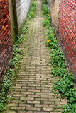 NARROW PATH IN A SMALL OLD TOWN Stock Photo