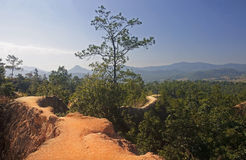 The narrow path on a steep slope in Pai Canyon Royalty Free Stock Photo