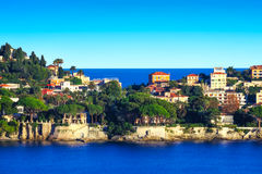 The narrow path to St Jean Cap Ferrat. Artistic photo showing this narrow peninsula surrounded by the mediterranean sea Stock Images
