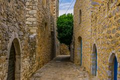 Areopoli, the traditional village of Mani in Peloponnese Greece. stock photo
