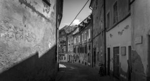 Old Ljubljana-The lonely street in B/W royalty free stock photography