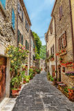Narrow paved street in the old town Stock Photo