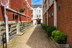 Empty Narrow Alley on a Sunny Day stock photo