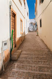 narrow pedestrian street in old town of Albufeira royalty free stock photos