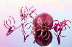 Narrow pink and ball ribbon for decoration Royalty Free Stock Image