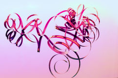 Narrow pink ribbon for decoration Royalty Free Stock Photo