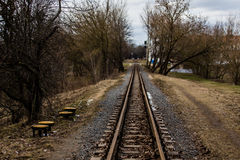 Narrow rails. With selective focus Stock Photography