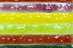 Narrow rectangular strips of artistic glass. Multicolored Stock Images
