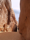 Narrow Red rock canyon Stock Photography