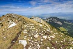 Narrow ridge,Piatra Craiului mountains,Romania. Piatra Craiului National Park in Romania Royalty Free Stock Images