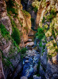 Narrow River Gorge. Rio Guadalevin running at the bottom of a steep gorge in Ronda, Spain Stock Photo