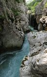 Narrow of river Soca in Julian Alps Stock Image