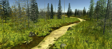 The narrow river surrounded by green trees Royalty Free Stock Photo