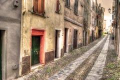 Narrow road in Alghero old town Stock Image