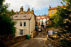 Narrow road from beach at Robin Hoods Bay Royalty Free Stock Photos